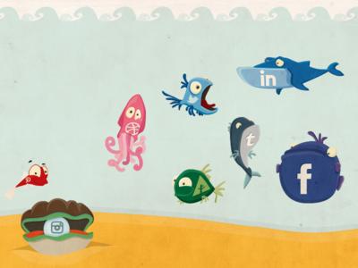 Creative Concept Design - Cartoon Fish and Social
