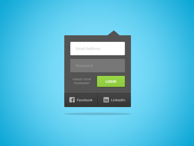 Dropdown Login Box PSD