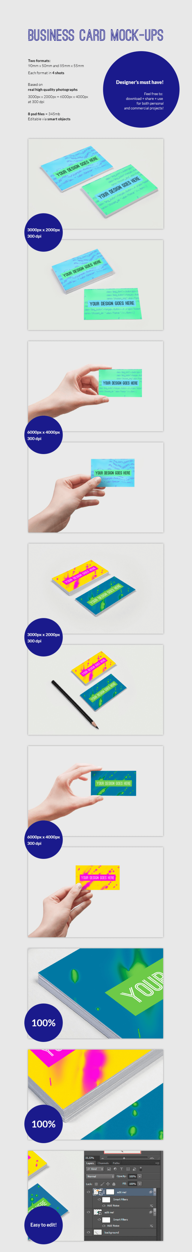 Free Business Card Mock-ups PSD Download