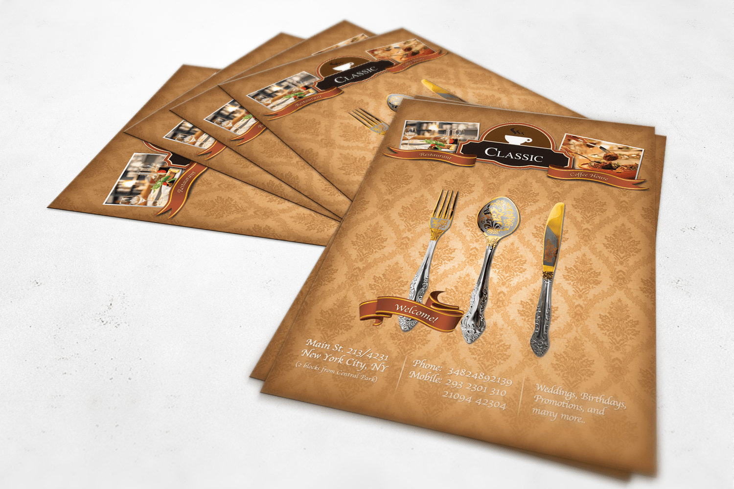Free Restaurant Flyer Mockup Template PSD