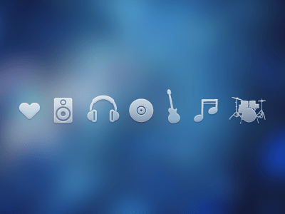Music icons PSD Headset Drums Guitar Speaker Heart