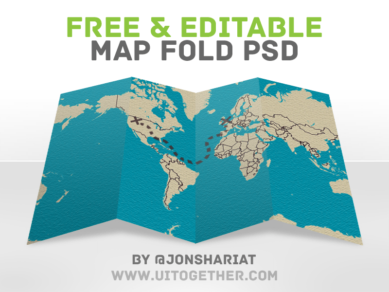 PSD Folded Map Template Photoshop