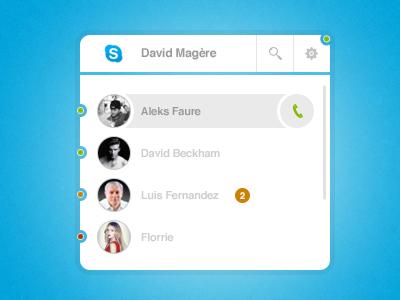 Skype App UI PSD