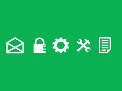 Work Icons- Envelope - Hammer - Cog - Lock - Notes