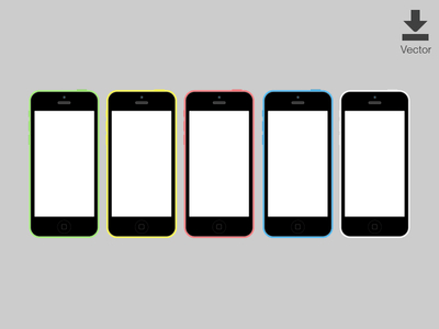 iOS iPhone 5c Vector Mockup (Wireframes)