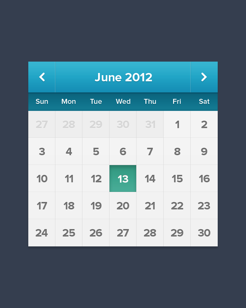 iPad iPhone Calendar UI PSD