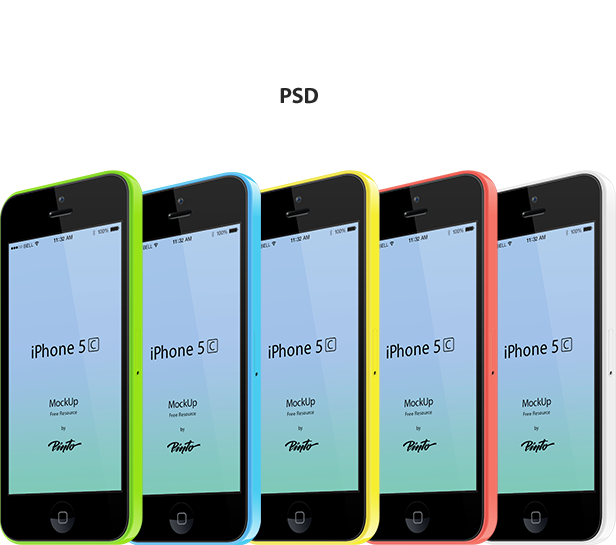 iPhone 5C Mockup Template Vector PSD