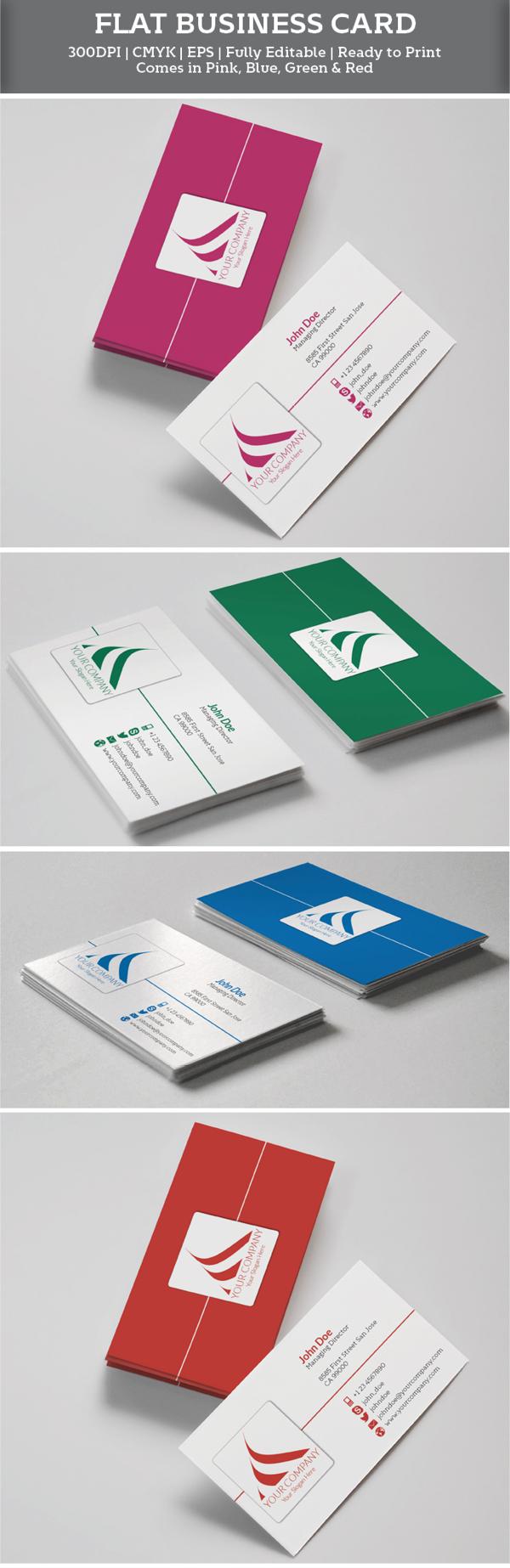 Flat Corporate Business Card Template illustrator Vector 1