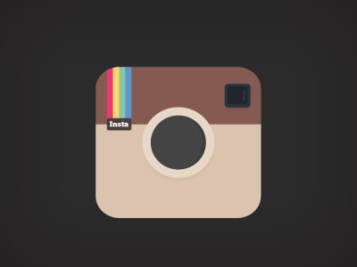 Flat Instagram Icon PSD Illustration