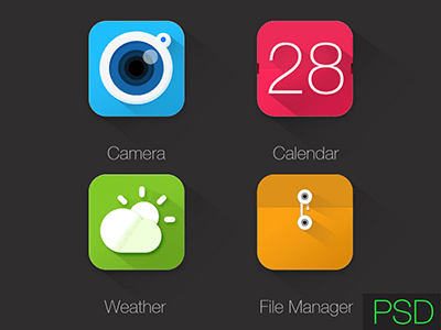 Icons PSD - Weather,Camera,Calendar,File Manager