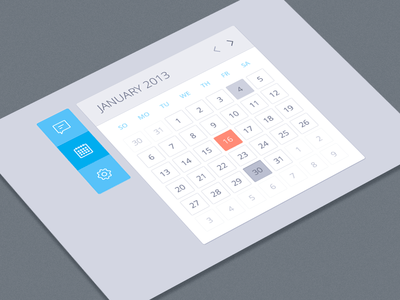 Photoshop Calendar UI Design PSD