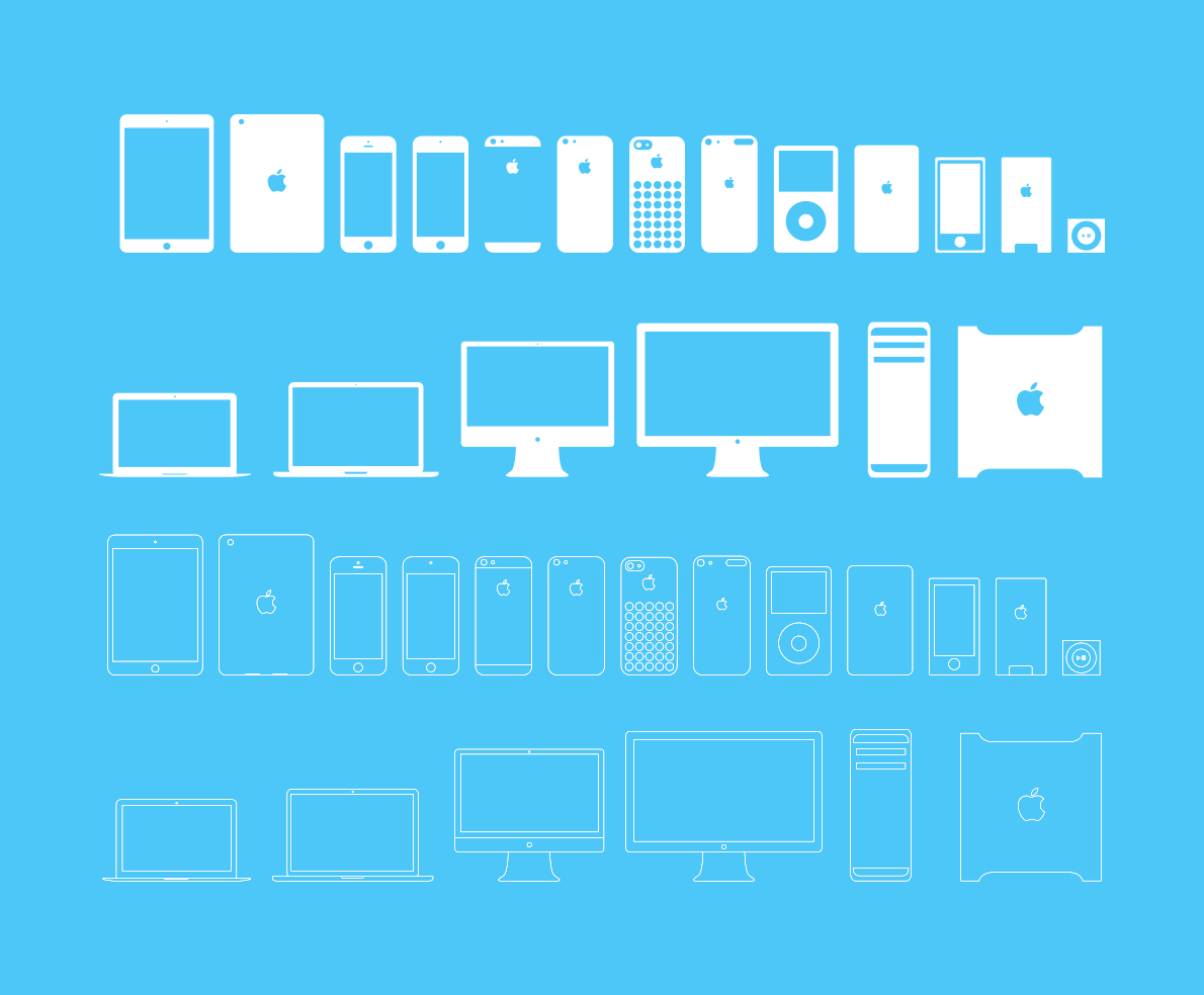 Apple devices icons- iphone ipad macbook