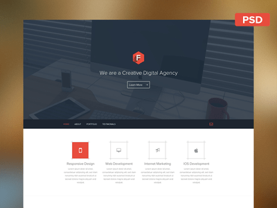 Create Flat Web Template PSD