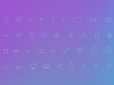 Flat ios7 Line Icons Set