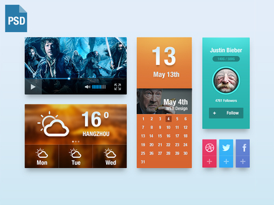 UI Kit PSD Video,Weather,Calendar
