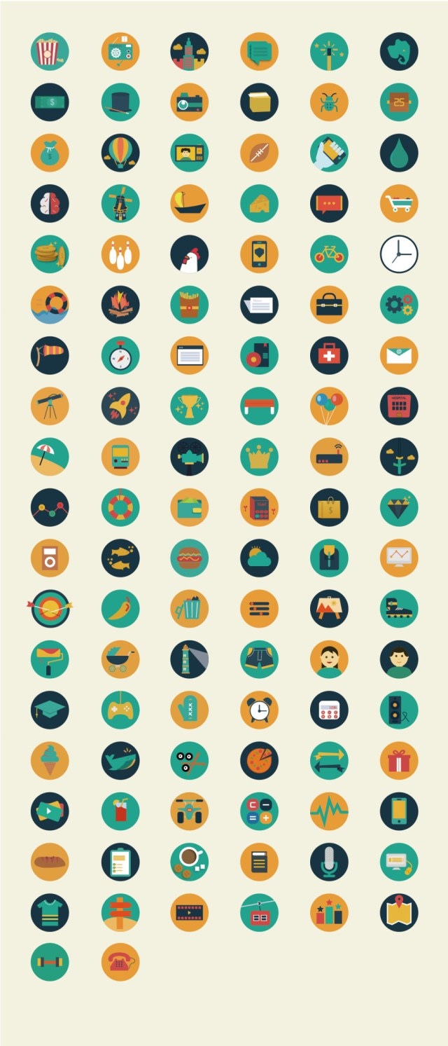 110 Flat Icons Vector EPS Free Download