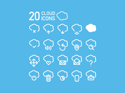 20 Vector Cloud Icons (eps)