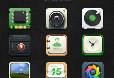 9 Icons download: Calendar,Music,Camera