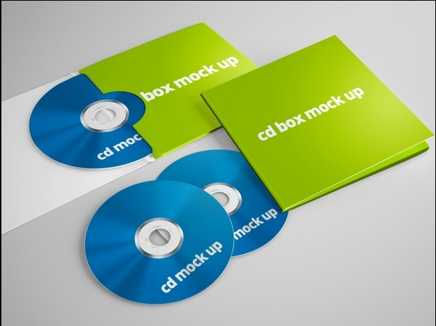 CD Box Mock-up template psd