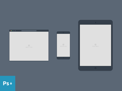 Containers Mockup PSD Browser, iPhone and iPad