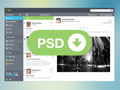 Email Client UI PSD
