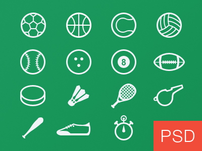 Free Sport Glyph Icons Vector PSD