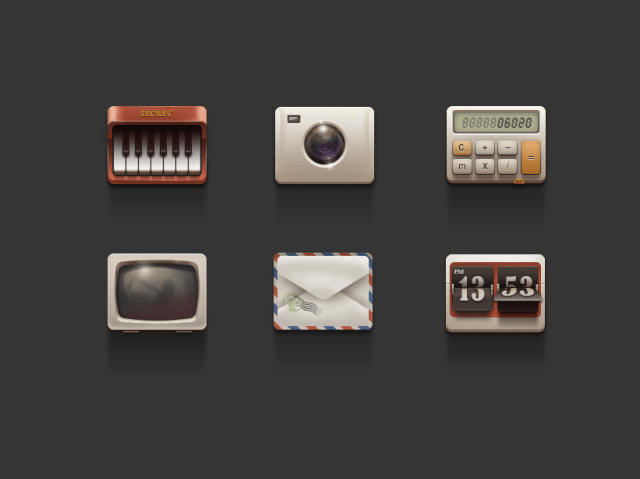 Icons PSD - TV,computer,camera,piano,envelope