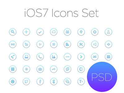 PSD: Ios7 Outline Icon Set