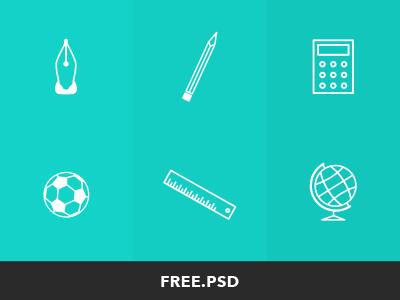 PSD School Icons:Ruler,Ball,Calculator,Globe,Pencil