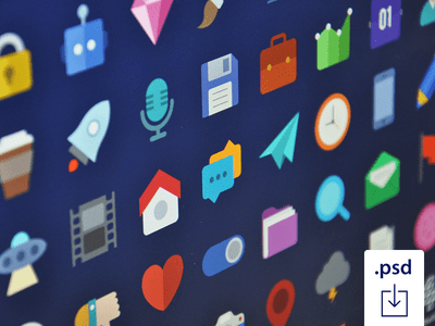 (PSD)Free Flat Icons Set – Vol 1