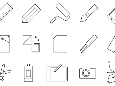 Thin Line Style Icons Vector Illustrator
