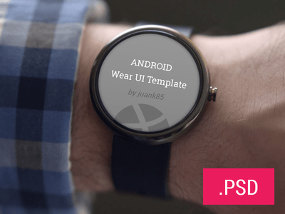 UI Design Android Wear Template PSD Mockup