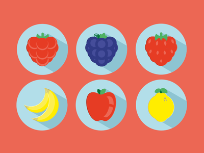Vector Fruits Icons:Strawberry,Apple,Banana,Grapes,lemon,Raspberry