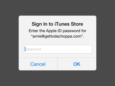 Mockup iOS 7 Popup Text Field