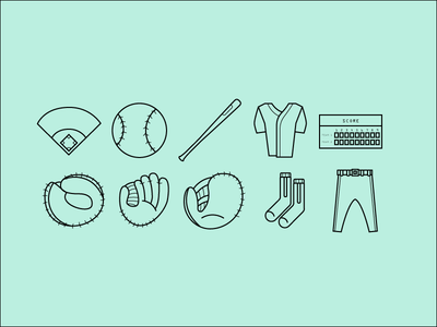 Baseball Icons Vector AI SVG & PNG