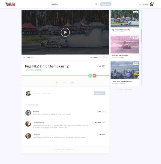 Free PSD Youtube Video Page Redesign Concept