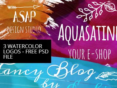 Free Watercolor logos PSD File