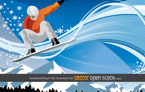 Sports Skier -Vector Man is Snowboarding