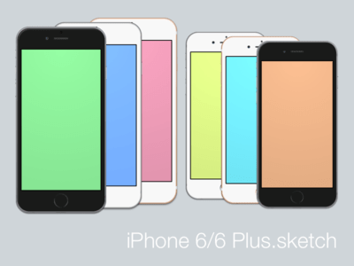 iPhone 6 and 6 Plus sketch template for your mockups (vector)