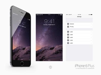 iPhone 6 & iPhone 6 Plus UI Kit Psd