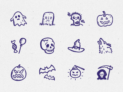 12 Hand-drawn Free Halloween icons Vector PSD
