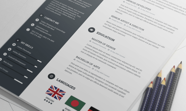 Creative & Modern Resume Template PSD Free Download