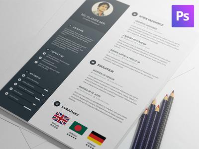 Creative & Modern Resume Template PSD Freebie