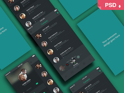 App Screens Perspective Mock Up PSD