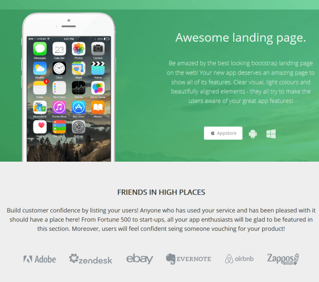 Bootstrap Awesome Landing Page