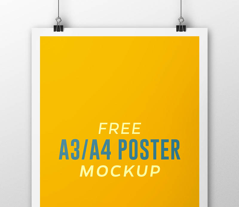 Free A3 A4 Flyer Poster Mock Up PSD Template
