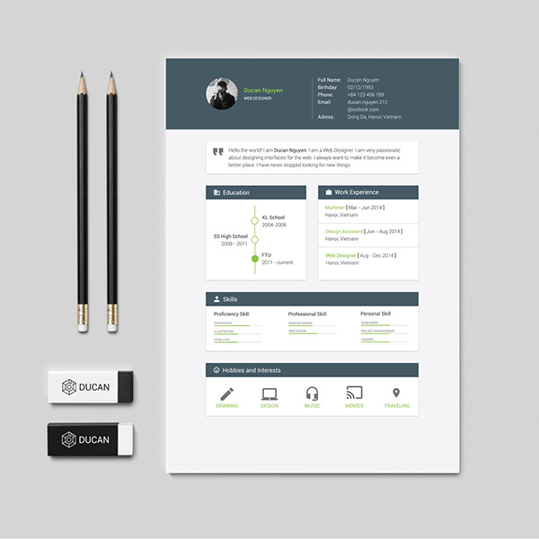 Free Resume Template Material Design Download