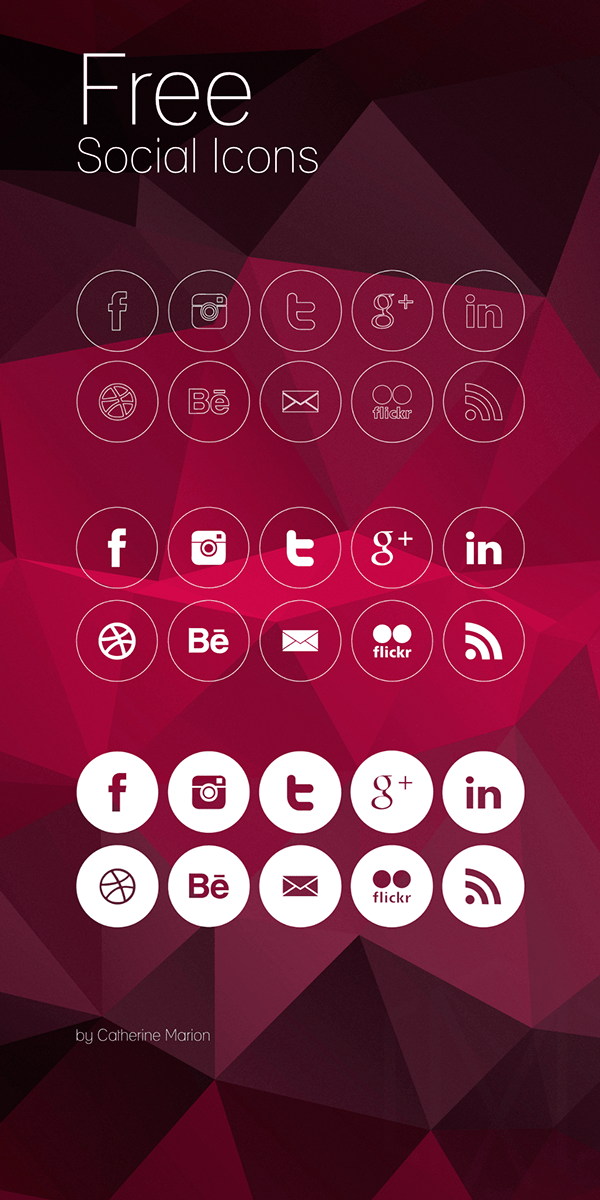 Free Round Social Icons PSD