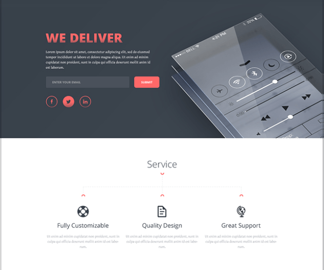 One Page PSD Template