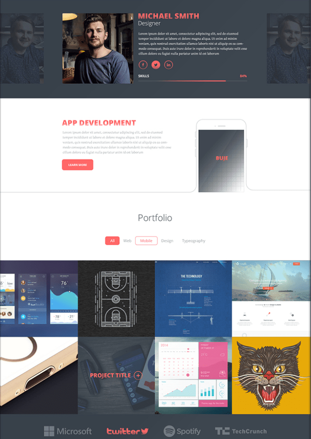 One Page PSD Theme